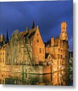 Bruges At Night, Belgium Metal Print