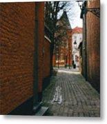 Bruges Orange Street Metal Print