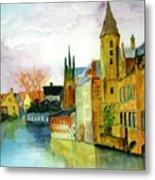 Brugge Belgium Canal Metal Print