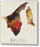 Brunei Watercolor Map Metal Print