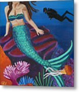 Brunette Mermaid With Turquoise Tail Metal Print