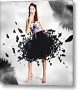 Brunette Pin-up Woman In Gorgeous Feather Skirt Metal Print