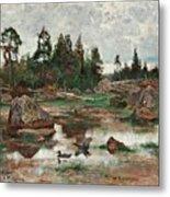 Bruno Liljefors,   Landscape From Uppland. 2 Metal Print
