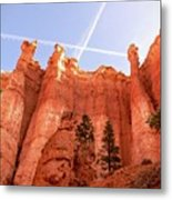 Bryce Canyon Hoodoos With Contrails Metal Print