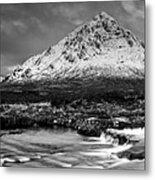 Buachaille Winter Panorama Mono Metal Print