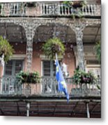 Bubbles Blow From An Ornate Balcony In New Orleans At Mardi Gras Metal Print