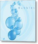 Bubbles In Blue Metal Print