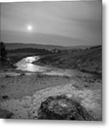 Bubbling Hot Spring In Yellowstone National Park Bw Metal Print