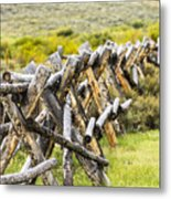 Buck And Rail Fence In The High Country Metal Print