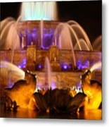 Buckingham Fountain At Night Metal Print