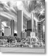 Buckingham Fountain Skyscrapers Black And White Metal Print