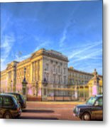 Buckingham Palace And London Taxis Metal Print