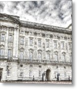 Buckingham Palace London Snow Metal Print