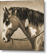 Buckskin War Horse In Sepia Metal Print by Crista Forest
