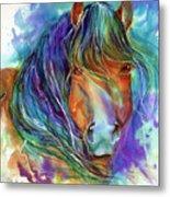 Bucky The Mustang In Watercolor Metal Print