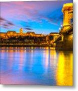 Budapest - Chain Bridge And Buda Castle -  Hungary Metal Print