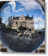 Budapest Globe - Houses Of Parliament Metal Print