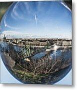 Budapest Globe - Liberty Bridge Metal Print