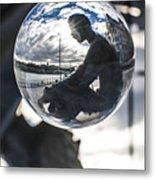 Budapest Globe - Statue Of Jozsef Attila Metal Print