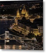 Budapest View At Night Metal Print