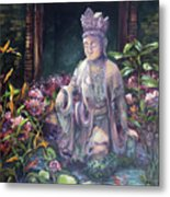 Budda Statue And Pond Metal Print