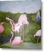 Buddah And The Flamingos Metal Print