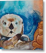 Buddha And The Divine Otter No. 1374 Metal Print