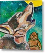 Buddha And The Divine Wolf No. 1370 Metal Print