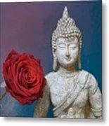 Buddha And Rose Metal Print