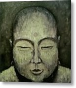 Buddha In Green Metal Print