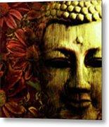 Buddha In Red Chrysanthemums Metal Print