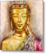 Buddha Peace Love And Light Metal Print