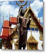 Buddha Statue With Sunshade Outside Temple Hat Yai Thailand Metal Print