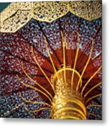 Buddhas Path To Enlightenment, Golden Umbrella Metal Print