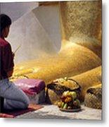 Buddhist Thai People Praying Metal Print