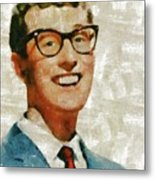 Buddy Holly By Mary Bassett Metal Print