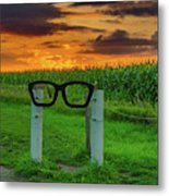 Buddy Holly Glasses Metal Print