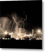 Budweiser Lightning Thunderstorm Moving Out Bw Sepia Crop Metal Print
