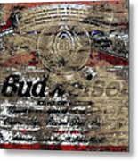 Budweiser Wood Art 5c Metal Print