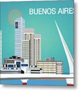 Buenos Aires Argentina Horizontal Skyline - Blue Metal Print