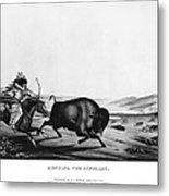 Buffalo Hunt, 1837 Metal Print