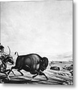 Buffalo Hunt, C1830 Metal Print