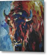 Buffalo In Blue Metal Print