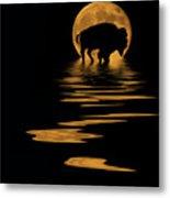 Buffalo In The Moonlight Metal Print