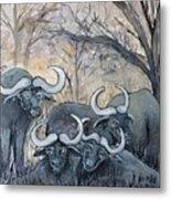 Buffaloes In The Bushveld Metal Print