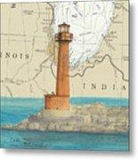 Buffington Harbor Lighthouse In Nautical Chart Map Metal Print