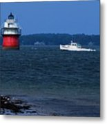 Bug Light And Lobster Boat Metal Print