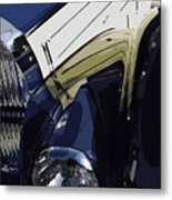 Bugatti Type 57 In Blue And White Metal Print