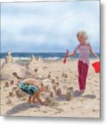 Builders On The Beach Metal Print