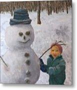 Building A Snowman  Metal Print